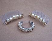 Vintage Hair Accessories 3 faux pearl hair comb hair barrette hair slide hair clip hair accessory hair jewelry hair ornament hair jewelry