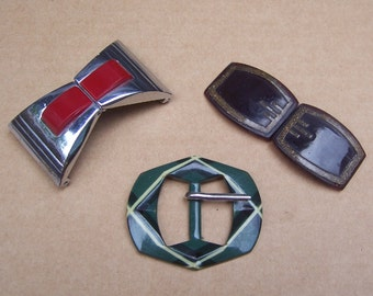 Art Deco belt buckles 3 dress buckle sash buckle antique buckle  (ZAG)