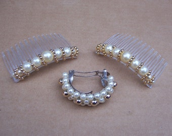 Vintage Hair Accessories 3 faux pearl hair comb hair barrette hair slide hair clip hair accessory hair jewelry hair ornament hair jewelry