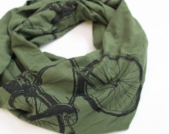 Bicycle Print Infinity Scarf in Olive Green and Black