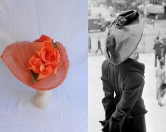 Shopping La Samaritaine - Vintage 1950s Tangerine Orange Mesh & Cabbage Rose Oval Platter Portrait Wide Brim Hat