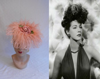 Maria Montez Bird of Paradise - Vintage 1940s WW2 Gage Pink Ostrich Feathers Tilt Topper Hat w/Roses