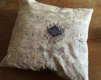 Marauders Map custom printed fabric, cushion cover. Harry Potter inspired home decor