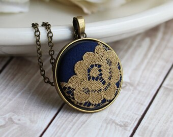Navy and Gold Wedding, Painted Jewelry, Lace Pendant, Gold Flower Necklace, Navy Bridesmaid Gift, Navy Wedding, Boho, Blue, Classic, Unique