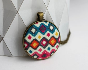 Colorful Boho Necklace With Fabric Pendant, Geometric Jewelry, Hippie Necklace, Large Round Pendant, Diamond Pattern, Blue, Orange, Pink