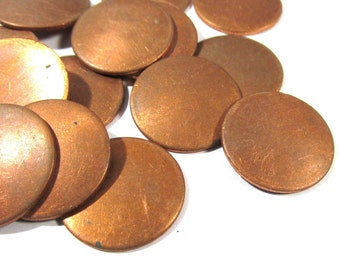 "Copper Discs Enameling Supplies Fifteen (15) Stamping Blanks Engravable COPPER 18 Gauge 3/4"" Blanks Enamel Jewelry Supplies (J164)"