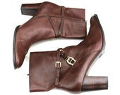 Vintage Etienne Aigner Multi-Brown/Gold Soft Leather Belted Side Zip Boots Sz 9.5
