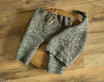 Baby Gray Pants and Hat Set, Baby Boy Prop Pants, Baby Boy Hat Set, Baby Hat, Photo Prop, Newborn Props, RTS, Baby Props, Knit Pants