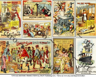 Antique Advertising Trade Card - 3 Printed Sheets, 24 Trade Card Reproductions, Old Advertising, General Store, Kitchen, Clip Art Paper Pack