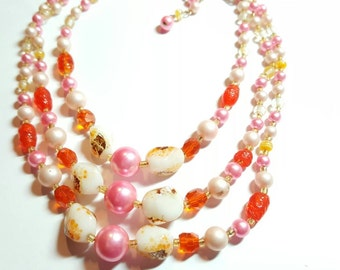 Vintage Beaded Necklace Multi Strand Art Glass Beads Pink Orange Vintage Jewelry
