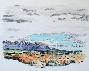 Arches National Park Illustration Utah Art Painting Sketch Pen and Wash Arches National Park Art Utah Painting Utah Landscape