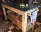 Kitchen Island--Zinc Top Work Table-Kitchen Prep Table with Zinc Top-Farm Table Style Kitchen Island-SHIPPING AVAILABLE