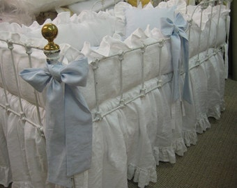 Ruffled Crib Linens-Washed Linen Baby Bedding-White Ruffled Crib Bumpers-Ruffled Crib Skirt- 6 Sash Separates Little Boy Blue-Crib Pillow