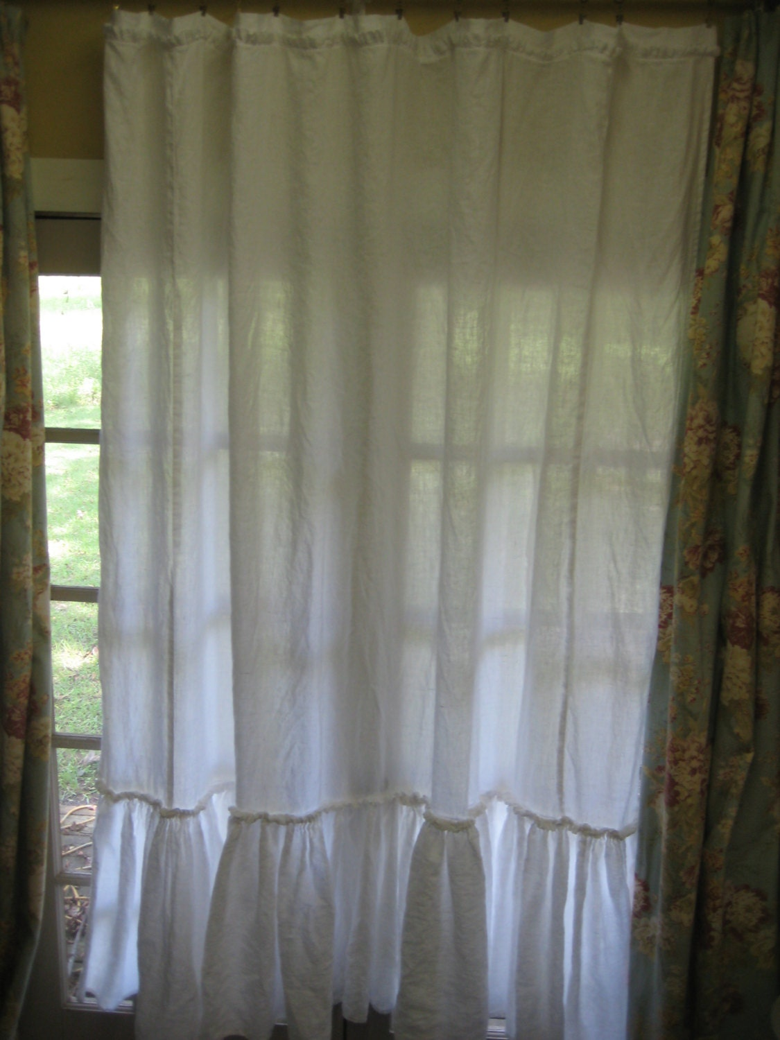 Ruffled Shower Curtain In Bright White Washed Linen Made To