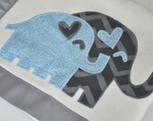 Organic Baby Boy Blanket with Elephants -- Gray and Blue