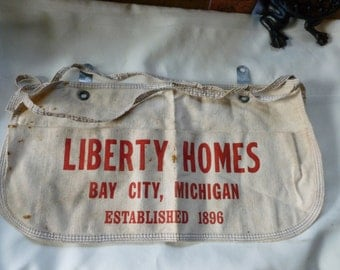 Vintage Mens Work Apron Liberty Homes Bay City Michigan Est 1896