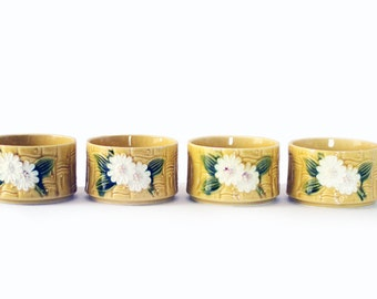 Japanese Bamboo Dessert Bowls | Vintage | Rice | Yellow | White Flowers | Japan | Asian