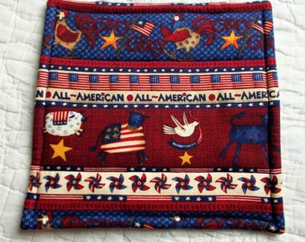 All American Quilted Hot Pad /Pot Holder/mini quilt