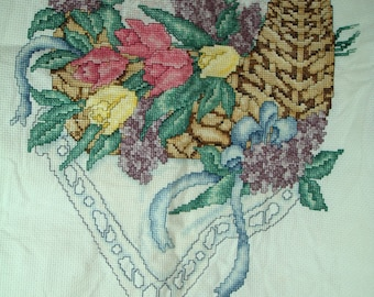 1992 Finished Counting Cross Stitch of Basket with Tulips.