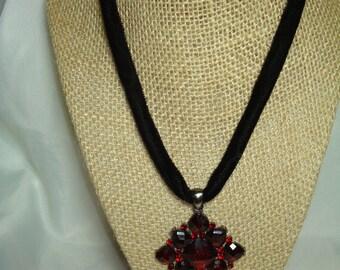 Vintage Garnet Colored with Velvet Choker Necklace.
