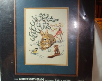 1982 Demensions Winter Gathering Counted Cross Stitch Kit.