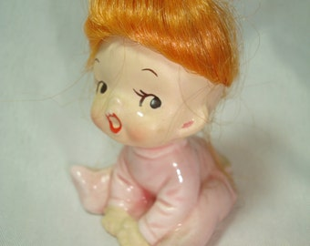 1950s Porcelain Baby Girl with Red Hair Nursery Figurine.