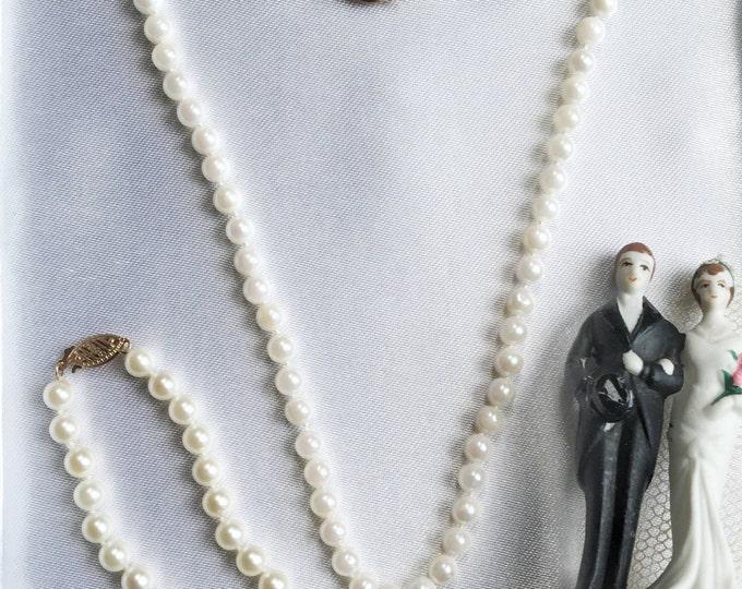 Pearl Necklace & Bracelet 14K Gold Fine Wedding Classic Jewelry