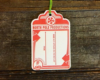 Letterpress holiday gift tags, north pole productions, Elfspecteor number nine - Set of 4
