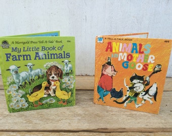 Vintage 1970's Children's Books // My Little Book of Farm Animals // Animals in Mother Goose