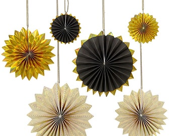 Black and Gold Pinwheel Paper Fans set of 6