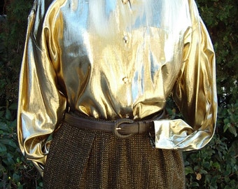 1980s Gold Lame' Evening Shirt Size 12 Item # 816 Evening Seperates