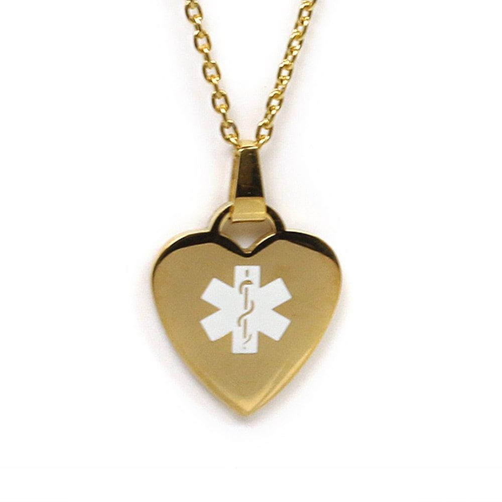 Medic Alert Necklace: Medical Alert Necklace Gold Toned Steel Heart P5CD-N24D