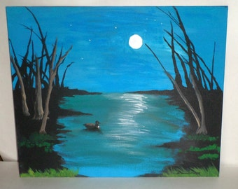 Duck in Marsh Pond Painting - Acrylic Painting - 16 x 20 Painting - Blue Marsh Pond - Lone Duck at Dusk - Hand Painted Ready to Frame
