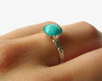 Sterling Silver amazonite ring silver gemstone ring sterling silver ring mint green silver stacking ring floral band ring