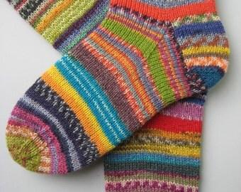 hand knitted womens wool socks, UK 5-7 US 7-9, crazy socks, rainbow socks, leftover yarn socks, mismatched socks, fun socks, multicolored