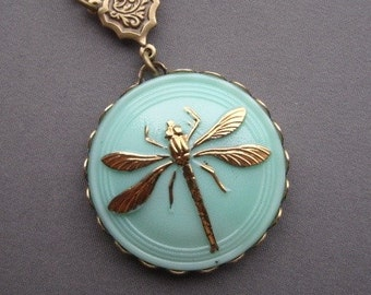 Dragonfly Necklace - Dragonfly Pendant - Dragonfly Jewelry - Mint Necklace - Czech Button Necklace - Glass Button Jewelry - Mint Jewelry