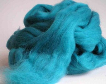 """New for 2016  Ashland Bay Solid Colored Merino for Spinning or Felting """"Cyan""""  4 oz."""