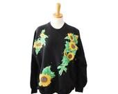 50% half off sale // Vintage 90s Black Sunflowers Iron On Sweatshirt - Women XL, Riders, Made in America