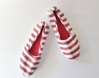 CIJ 40% off sale // Vintage Red and White Striped Slip On Flats - Women 6M - Early 90s, 2 Pairs Availables