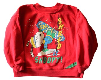 Vintage 80s Shred it Snoopy Snowboard Peanuts Christmas Sweater // made in America, Kids 5 // Childrens Sweatshirt