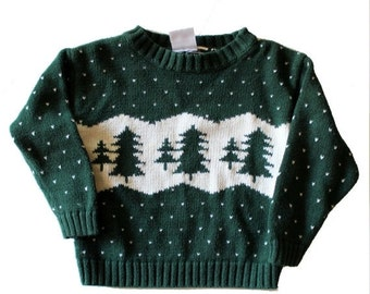 30% off sale // Vintage 90s Ugly Christmas Sweater // Boys 3T jumpers // green pine tree pattern