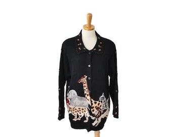 30% off sale // Vintage 90s Safari Animal Sweater - Cardigan Women 14 16 Novelty - Arriviste, zebra, elephant