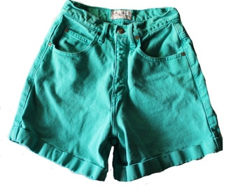 Vintage 90s Westport Teal Rolled Cuff Denim Shorts Women XS Small