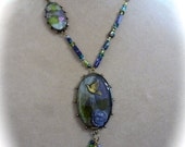 SALE - Resin Pendant Necklace in Purple and Green with Swallow