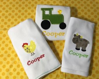 Farm Baby Set...Bodysuit, Bib, Burp Cloth