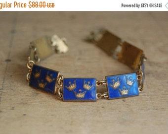 SALE Vintage Swedish three crowns enamel bracelet ∙ Tre Kroner enamel bracelet