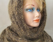 Handspun Knitted Brown and Amber Hooded Cowl