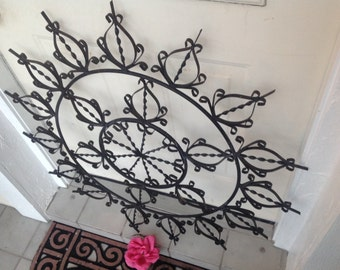 VINTAGE WROUGHT IRON SUNBURSt Decor Wall hanging - Hand Made Metal Starburst Decor Wrought iron Wall Hanging at Retro Daisy Girl