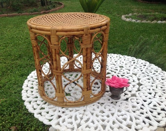 RATTAN DRUM STOOL Rattan Stool or Drum Table / Bamboo Side Table Hollywood Regency Fretwork Stool Almost 18 Inches tall at Retro Daisy Girl
