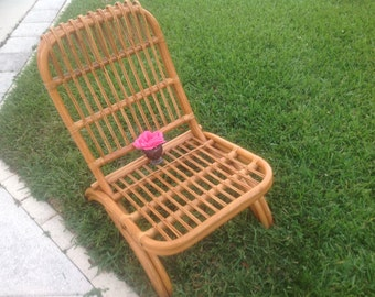 RATTAN ARM CHAIR / Folding Mid Century Albini Style Rattan Chair Rattan Lounge Chair / Bohemian Cottage Style at Retro Daisy Girl